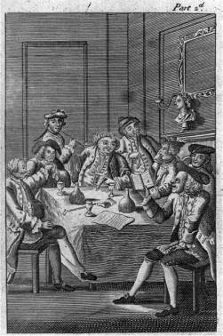 Eight men around table, drinking and smoking, 1797